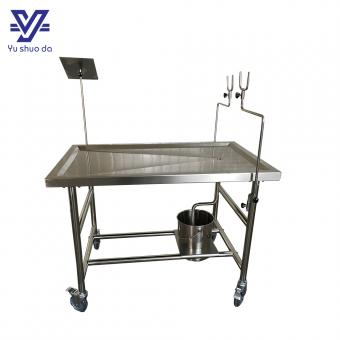 stainless steel morgue table